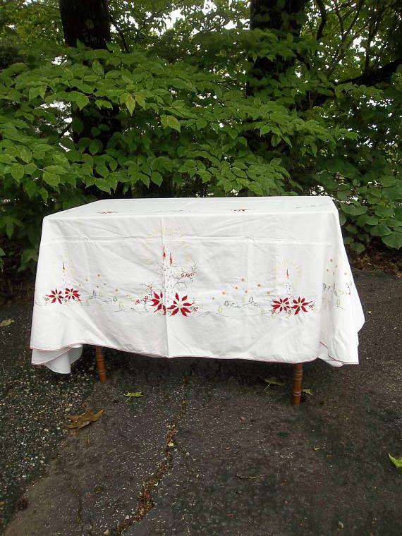 Vintage Christmas Tablecloth 64x80 Oval Table Cloth Holiday