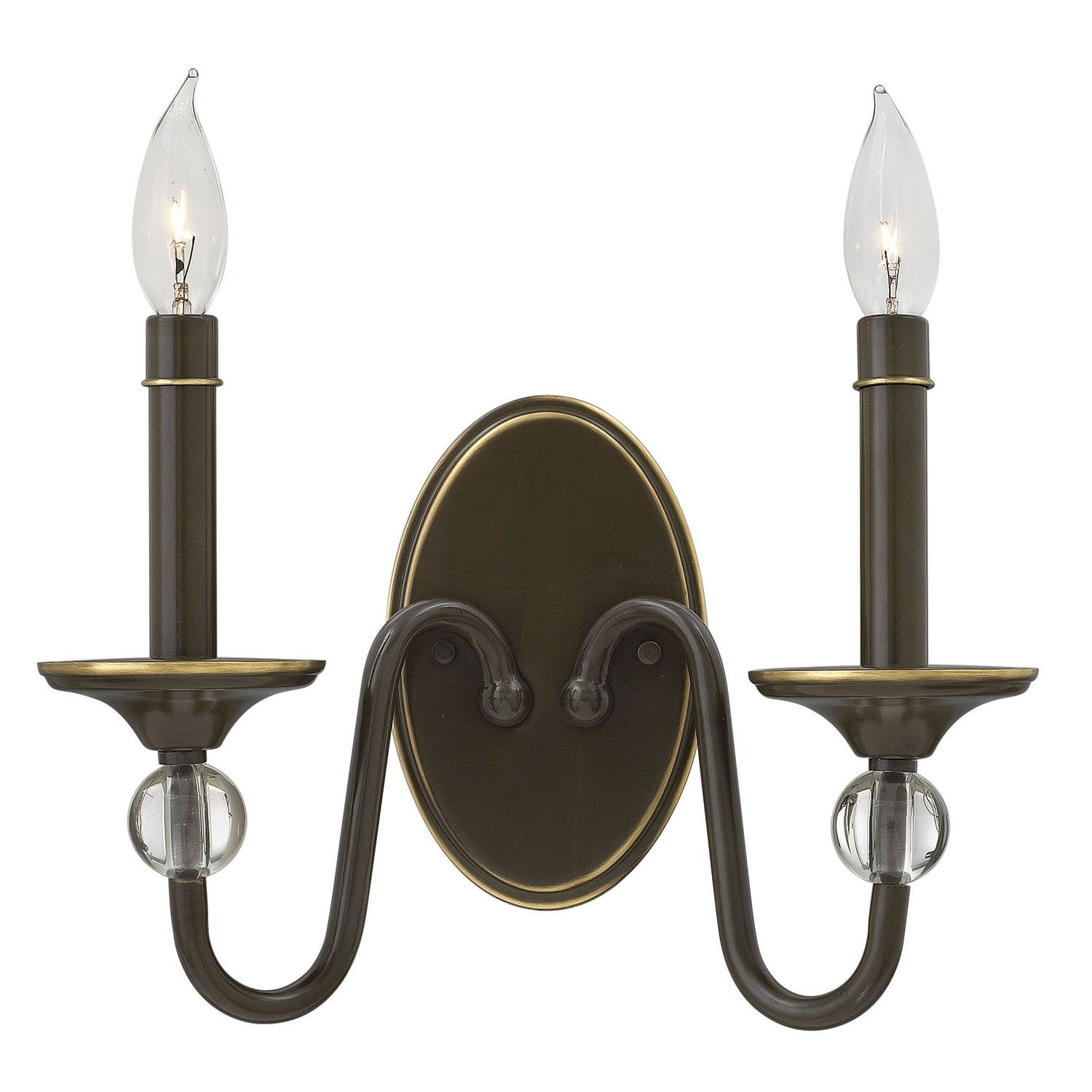 Hinkley eleanor light oiled bronze two light wall sconce light eleanor light oiled bronze two light wall sconce hinkley 2 light armed candle wall sconces aloadofball