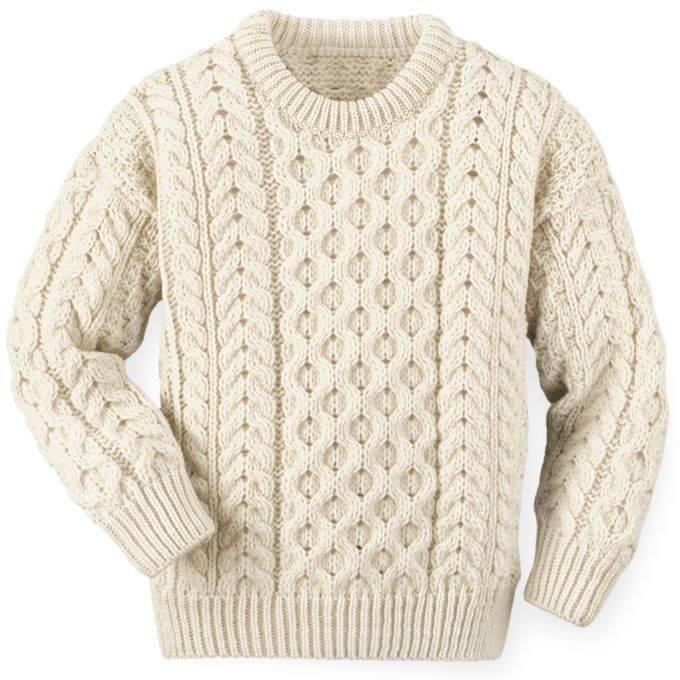 Traditional Aran Knitting Patterns : Childrens Aran crew neck sweater. Crafted of extra-soft 100% merino wool...