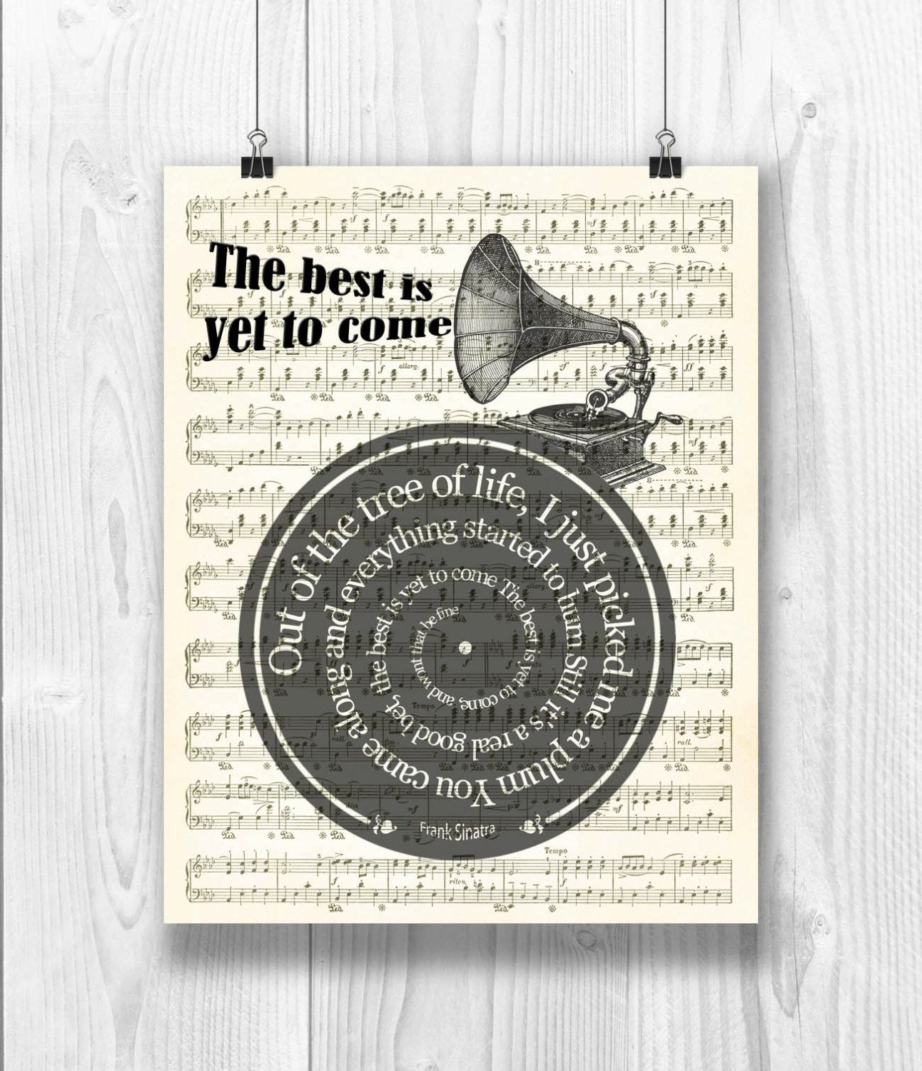 Frank Sinatra Print The Best Is Yet To Come Lyrics In Spiral Sheet Music Reproduction Musical Wedding Gift Song