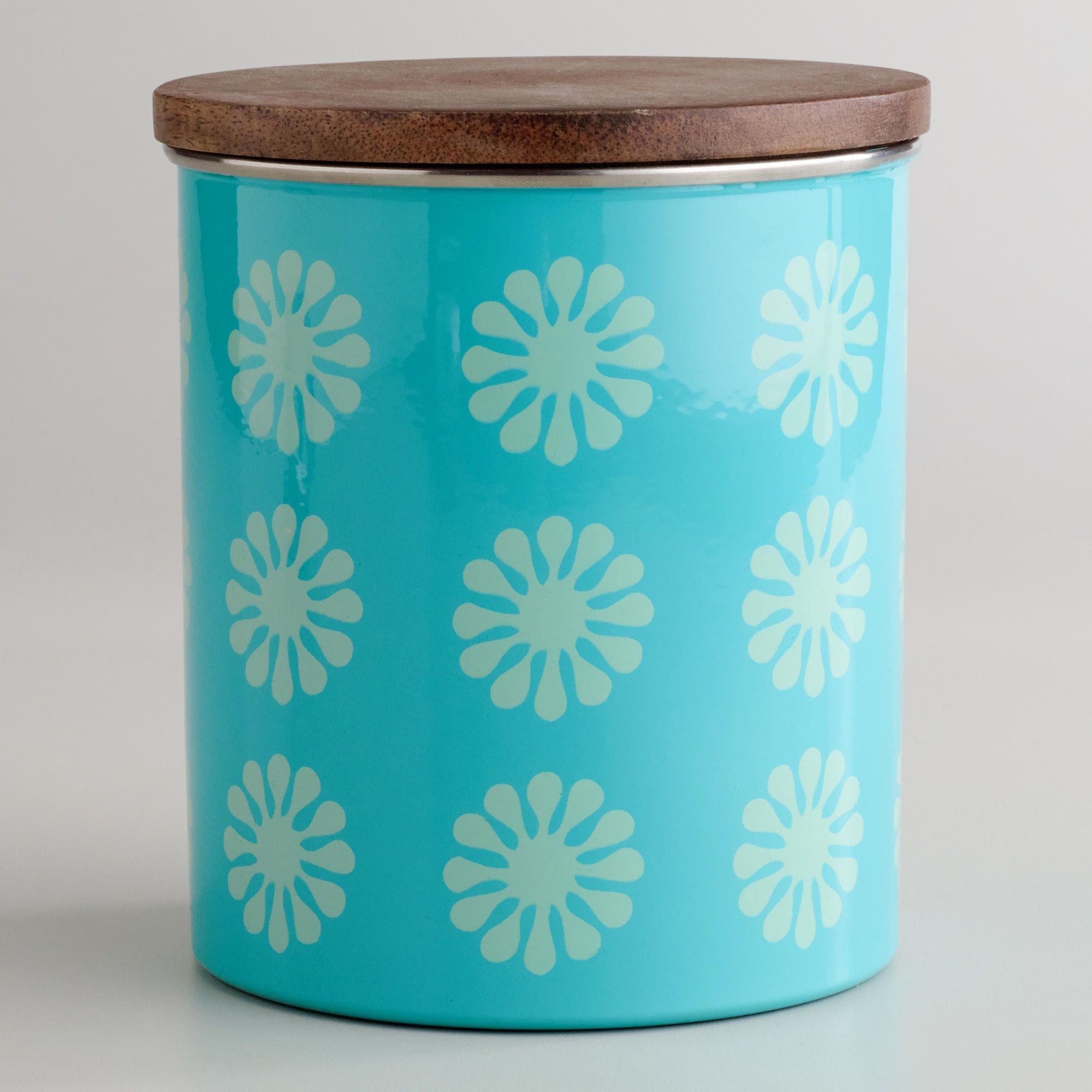 $10 Aqua Floral Canister with Wood Lid | World Market | nesting ...