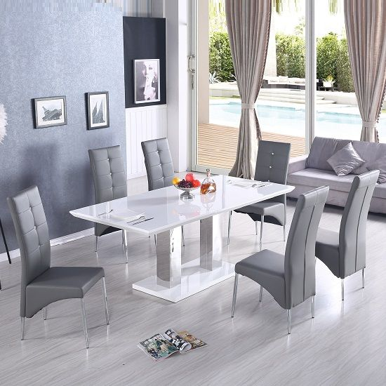 Monton Modern Extendable Dining Table In White High Gloss With 6 Vesta  Dining Chairs In Grey