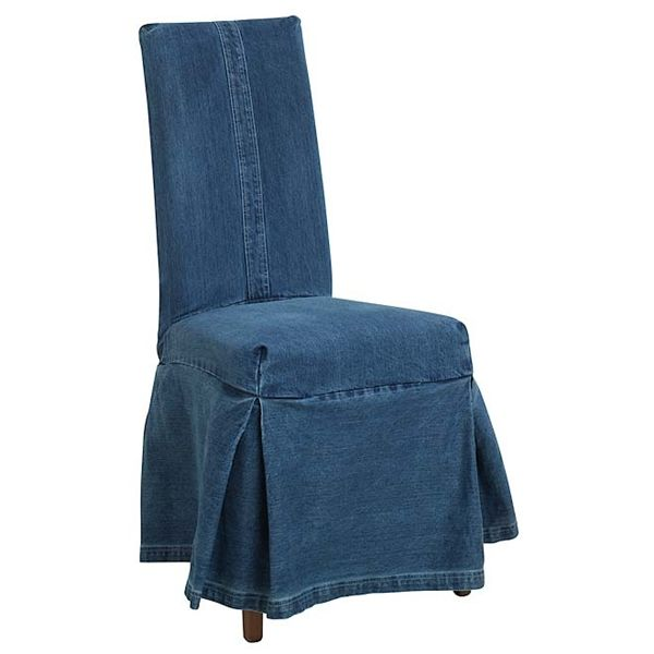 denim slip cover parsons chair