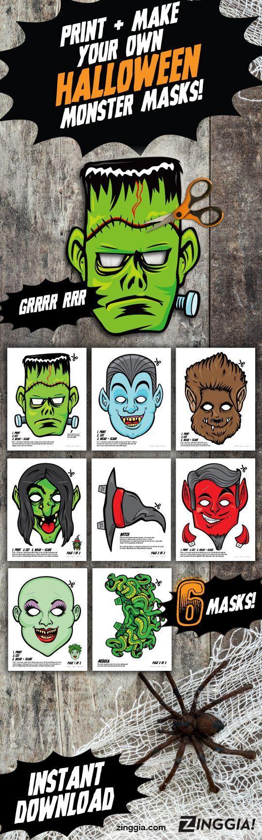 PRINTABLE Monster Halloween Masks, 6 kids DIY paper halloween masks ...