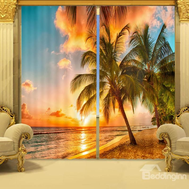 3d Vivid Coconut Trees In Sunset Printed Natural Scenery