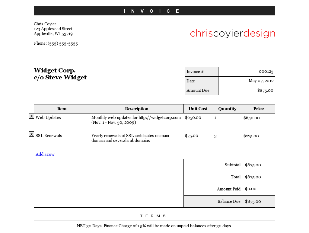 CSSTricks Editable Invoice Document Templates Pinterest - Css invoice template