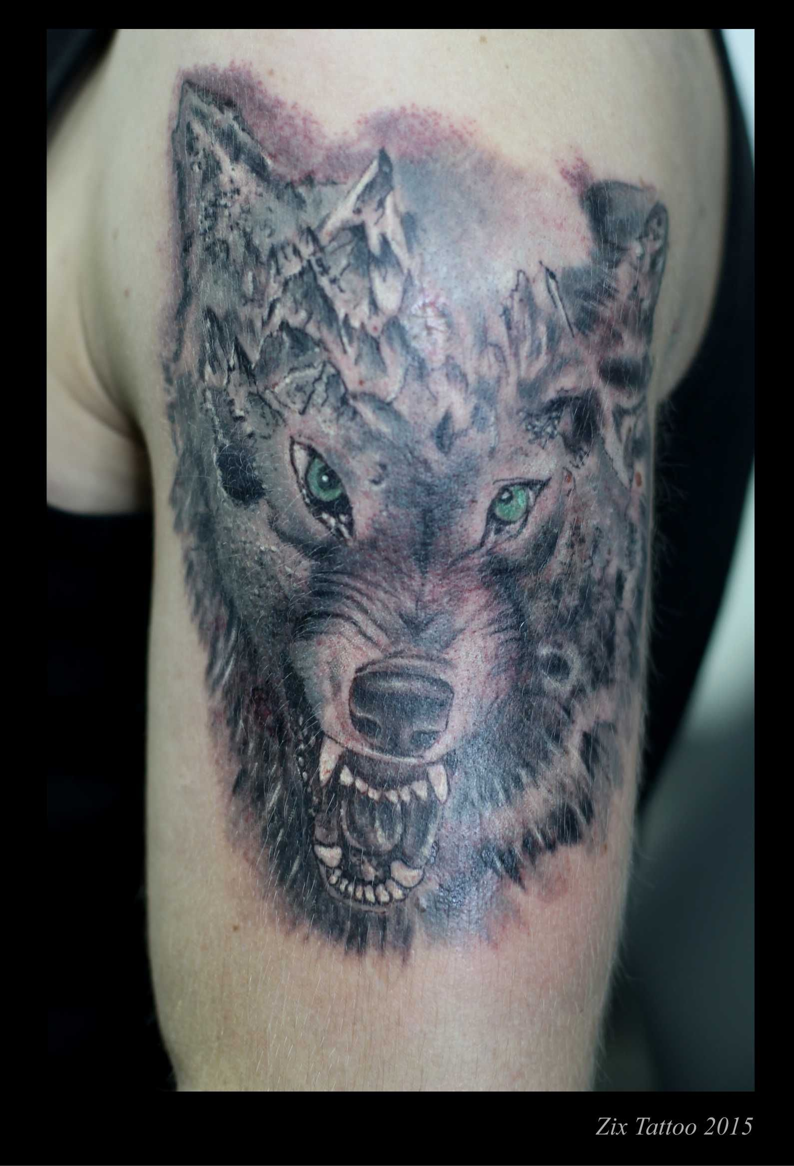 Color art fojnica - Wolf Vuk Sarajevo Black Gray Tattoos