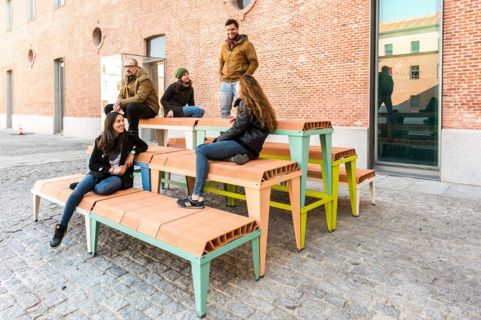 Inspired by the German machinery manufacturer Carl Schlickeysen who first patented the Brickmaking machine, Enorme Studio created a colourful furniture system.