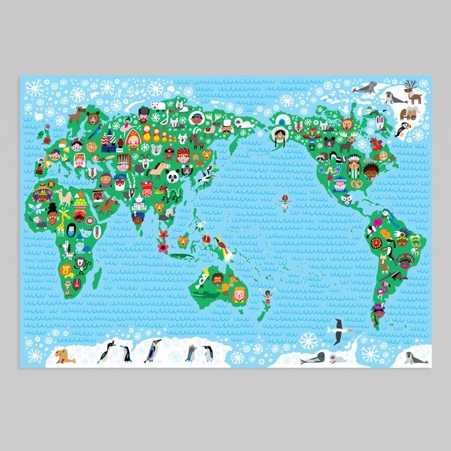 World Map Kids Poster