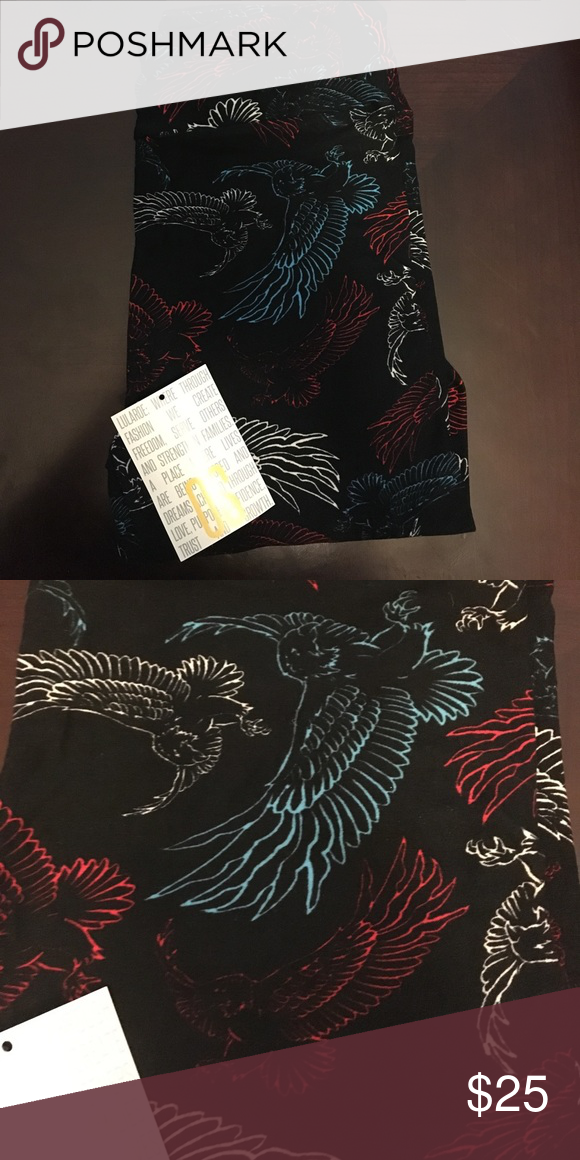 Americana eagle leggings I went a little crazy and overbought Lularoe Americana Stuff. These are one size, made in China, black background with red white and blue flying eagles. Brand new. LuLaRoe Pants Leggings