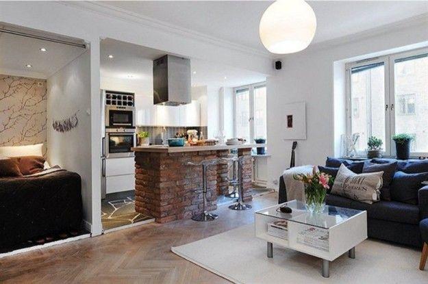 Soggiorno piccolo con angolo cottura soggiorno con angolo cottura e mattoni a vista wood - Idee per arredare soggiorno con angolo cottura ...