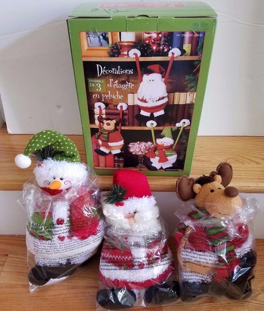 NIB Plush Christmas Shelf Hangers Mantle Santa Snowman And