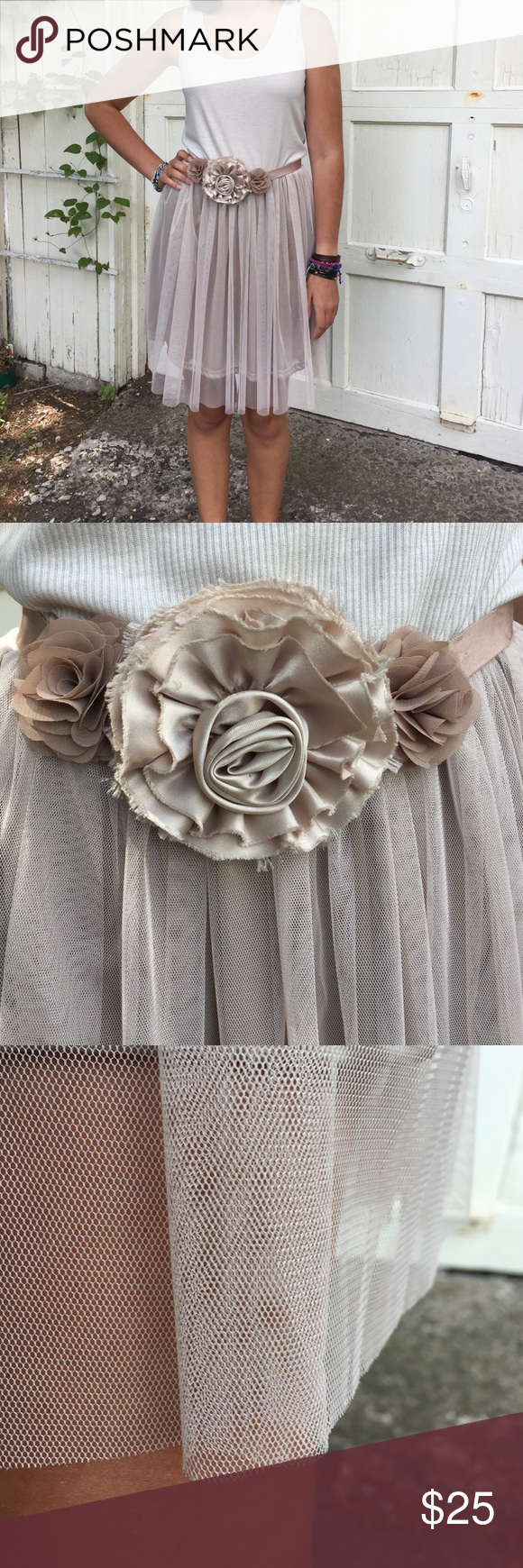 Pretty little dress by Melody A cool sporty tank top/bodice with playful and flirty tulle skirt bottom. I have it paired with a rosette and gros grain ribbon belt by J Crew (in the same taupey blush color). Dress it up or down. Melody Dresses