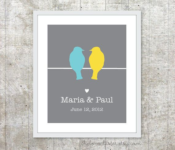 Custom Wedding Print  Love Birds Poster  Slate by TheLoveCluster