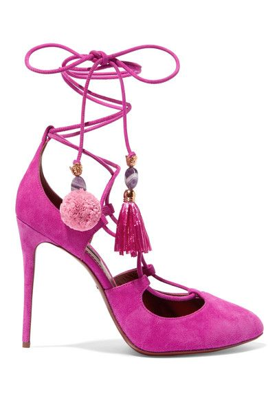 Dolce & Gabbana Woman Embellished Lace-up Suede Pumps Fuchsia Size 37 JLg3ZvWggk