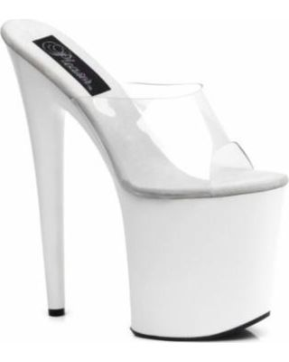 Holiday Deal on 8 Inch White Clear High Platform Sandal Stripper Shoes