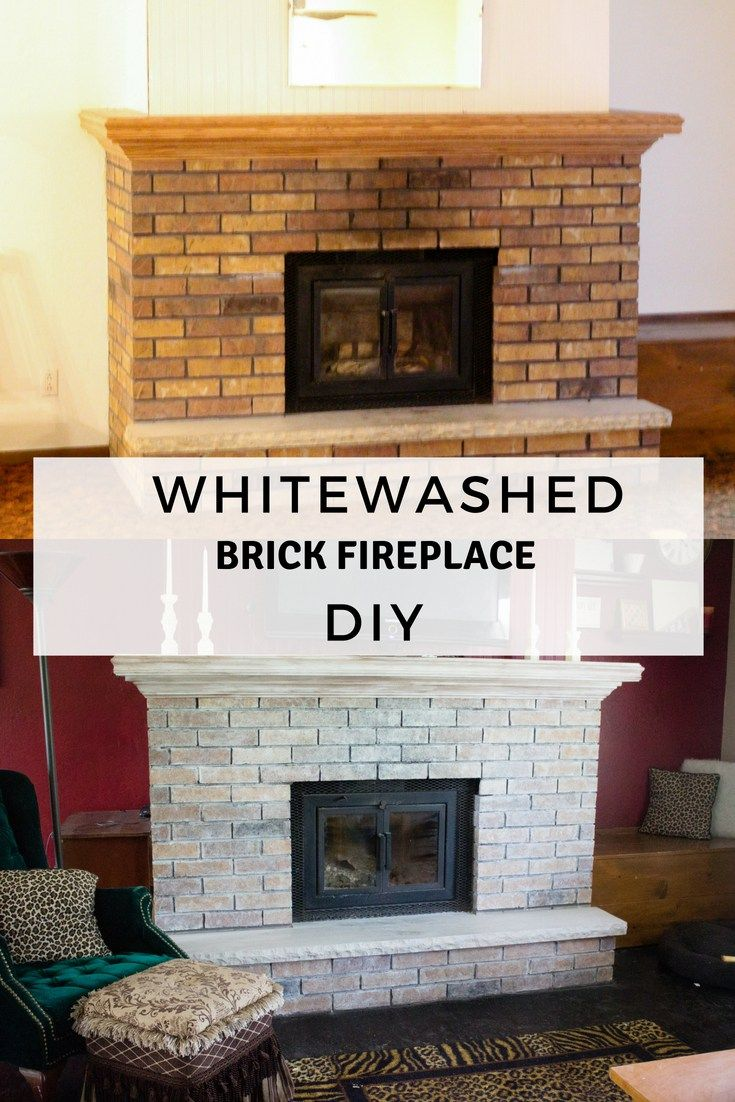 Whitewashed Brick Fireplace u Mantle Renovation home Pinterest