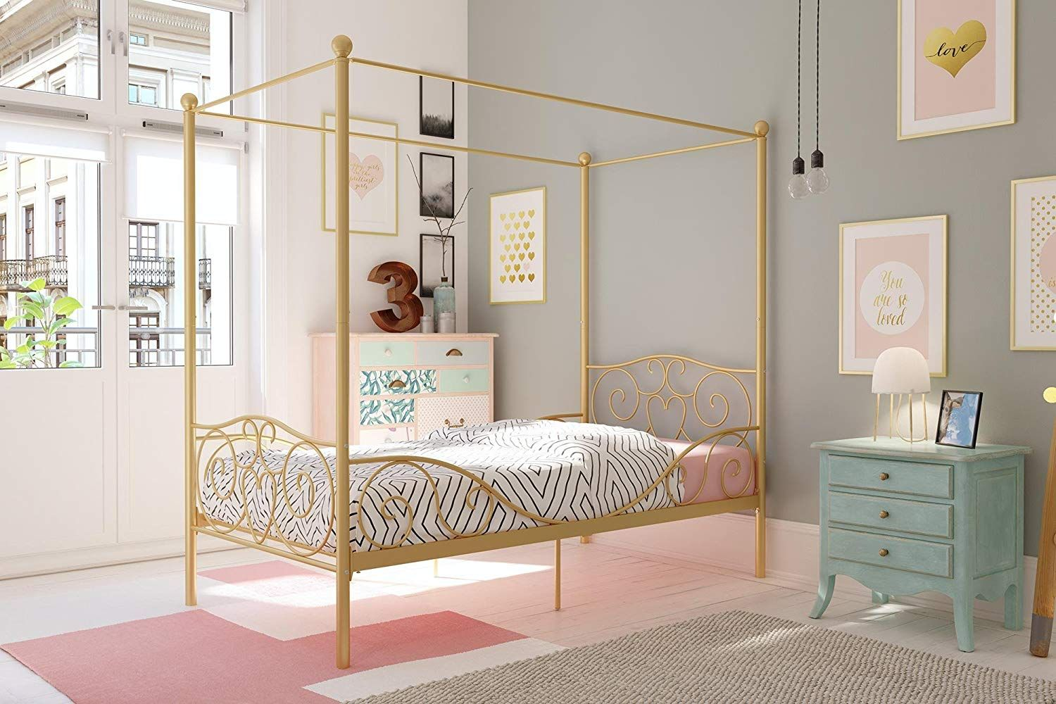 Amazon Com Dhp Canopy Metal Bed Sturdy Bed Frame Gold Twin