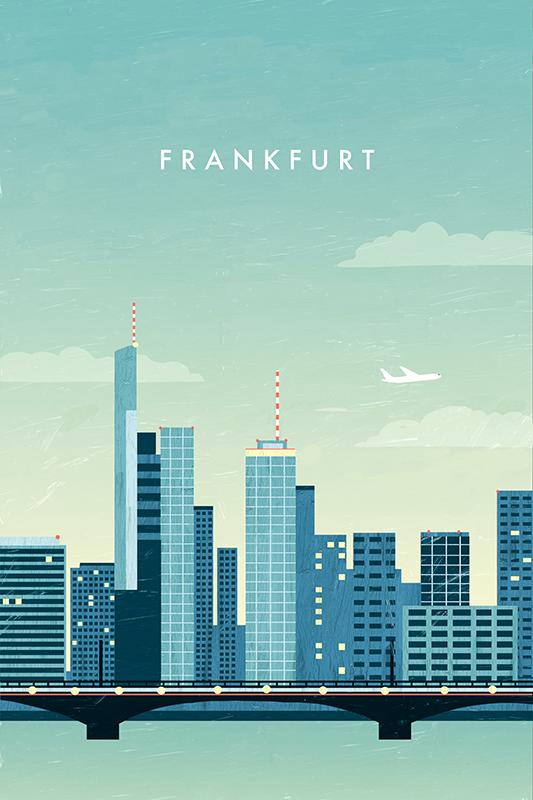 'Frankfurt Travel Poster' Kunstdruck von Katinka Reinke