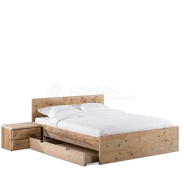 steigerhout bed met lades scaffold wood bed with drawers