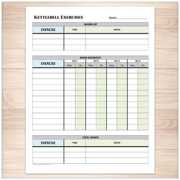 kettlebell exercises sheet with warm up and cool down printable at