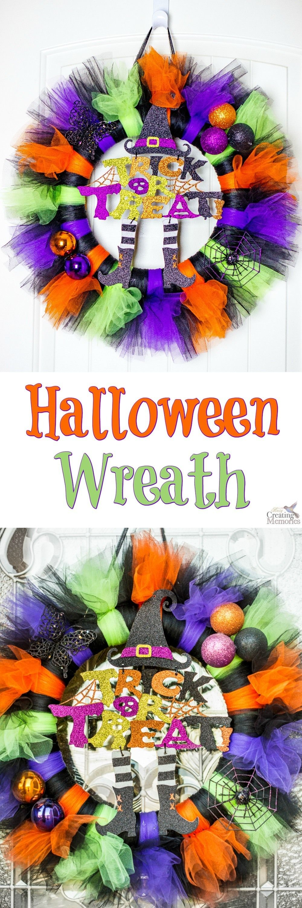 Get your house Spooky ready with this easy to make Tulle Tutu Halloween Wreath…