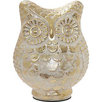 Gold Tone Distressed Owl Ornament