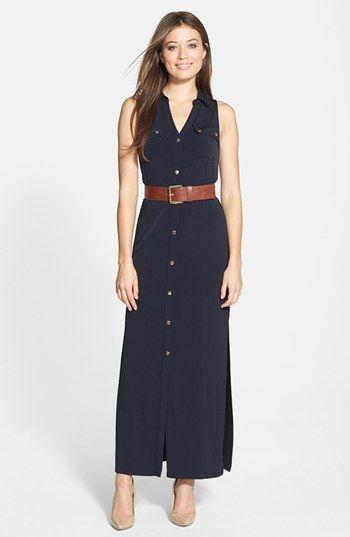 timeless design best place for clear-cut texture MICHAEL Michael Kors Sleeveless Maxi Shirtdress (Petite ...