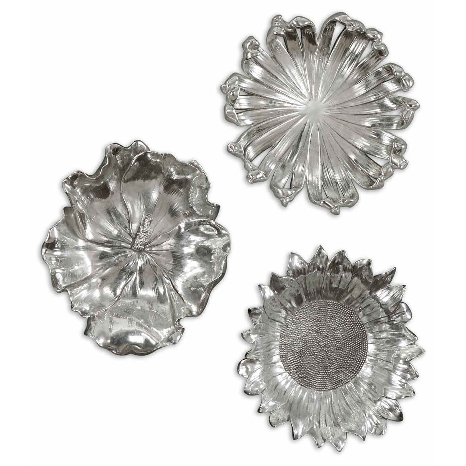 Uttermost silver flowers metal wall art set of three for Silver wall art