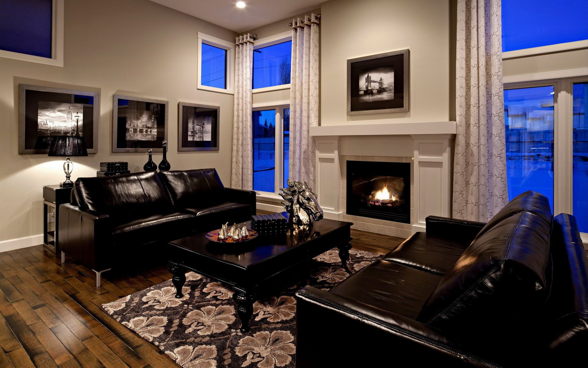 man made room interior style leather black sofa fireplace