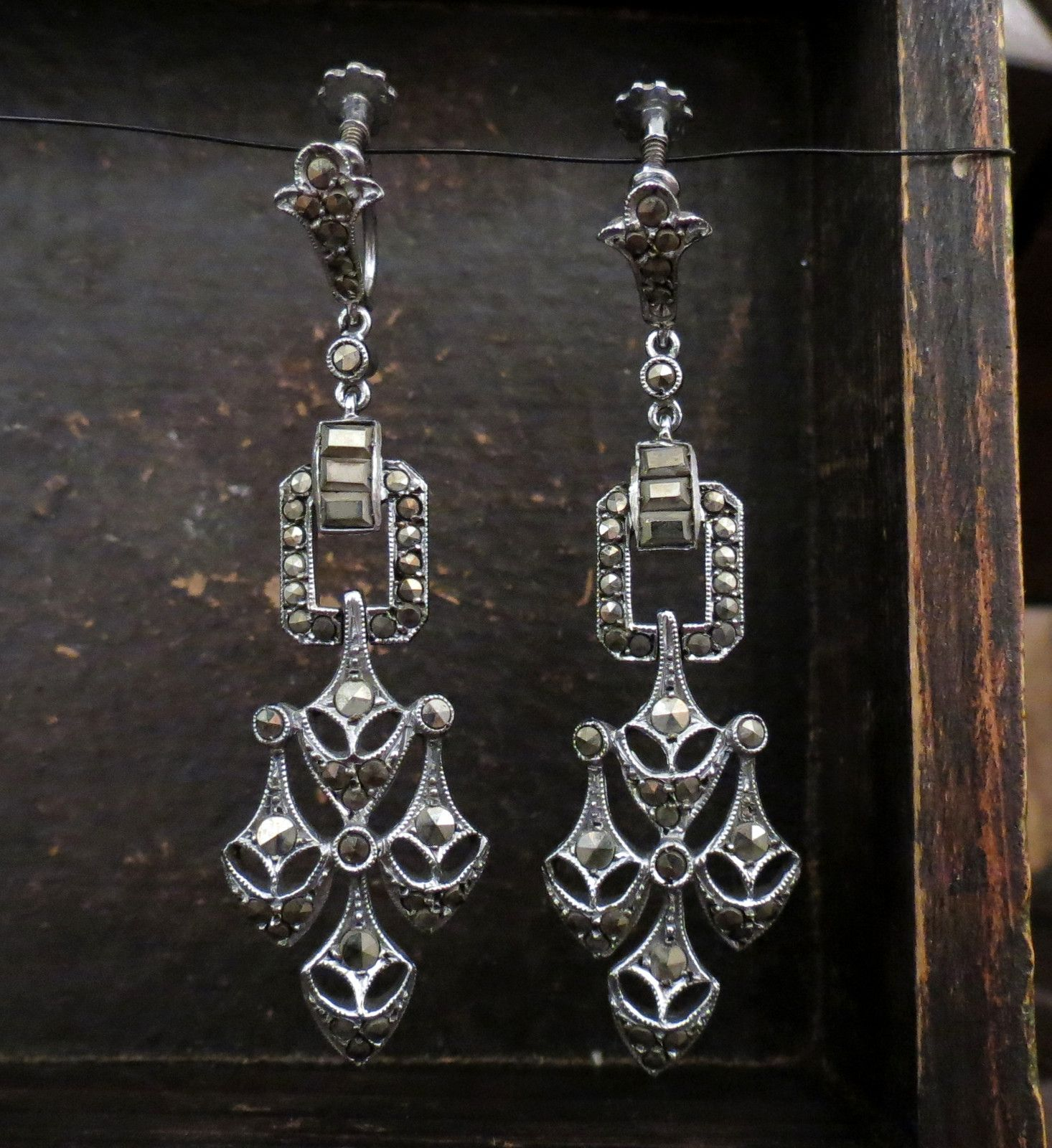 Art deco marcasite chandelier earrings sterling silver c 1930 art deco marcasite chandelier earrings sterling silver c 1930 aloadofball Image collections