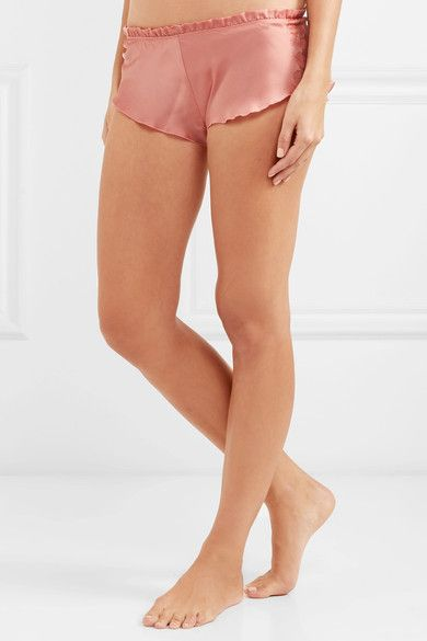 4f9642c82e98 Carine Gilson - Chantilly Lace-trimmed Silk-satin Pajama Shorts - Antique  rose