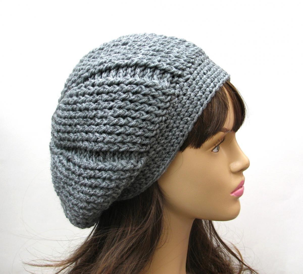 1392c13fe66 Hand Crochet Hat - Slouchy Hat -grey Hat- Winter Accessories
