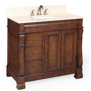 Westminster 36-inch Bathroom Vanity (Travertine/Brown): Includes a Brown Cabinet, a Travertine Countertop, and a Ceramic Sink