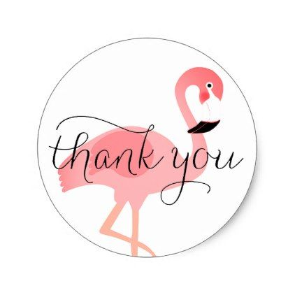 Cute Flamingo Thank You Script Classic Round Sticker Script Gifts Template Templates Diy Customize Personalize Spe Stickers Custom Round Stickers Cute Gifts
