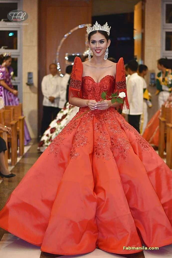 Red Filipiniana Terno Gown by Russ Cuevas worn at the 1st Flores de ...