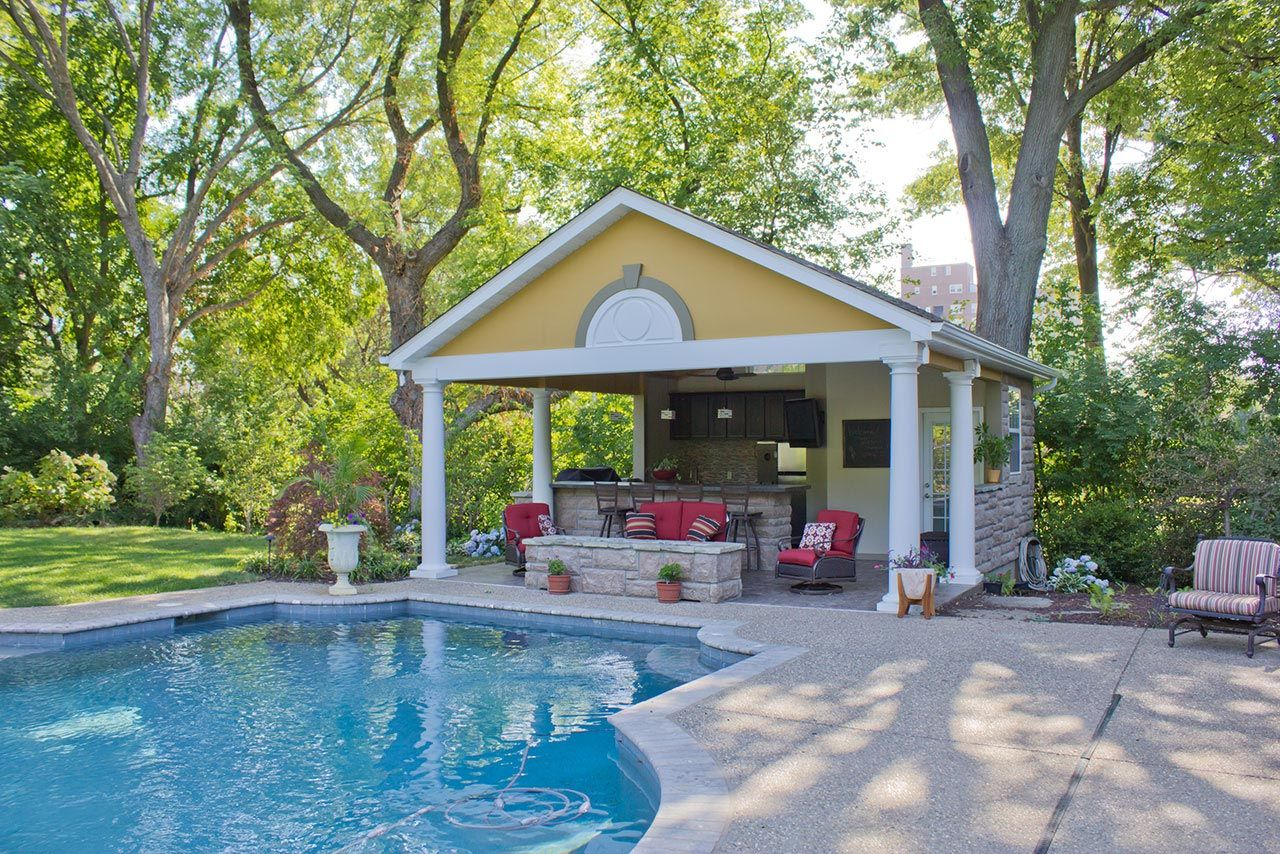 St Louis Outdoor Room Construction Green Guys Pool Houses Pool House Plans Pool House Designs