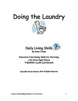Daily Living Skills Doing The Laundry Workbook Living Skills Teaching Life Skills Life Skills Class