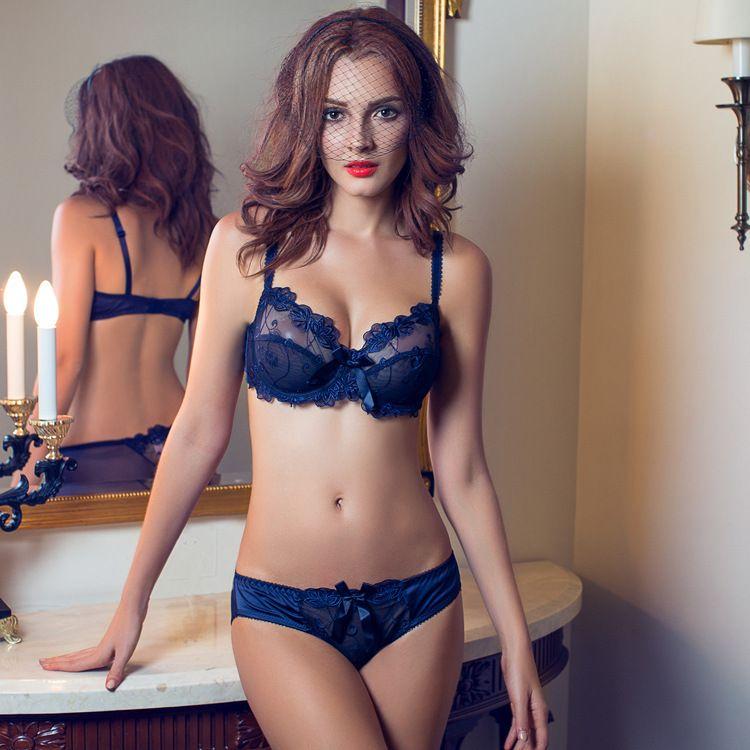 ABCDE Cup Sexy lingeries women Bra & Brief Set Flower gauze lace ...