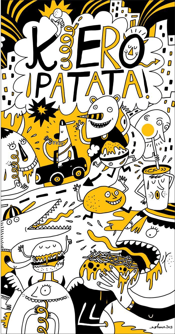Wall mural illustration for Kiero Patata – Kiero Patata is a fast ...