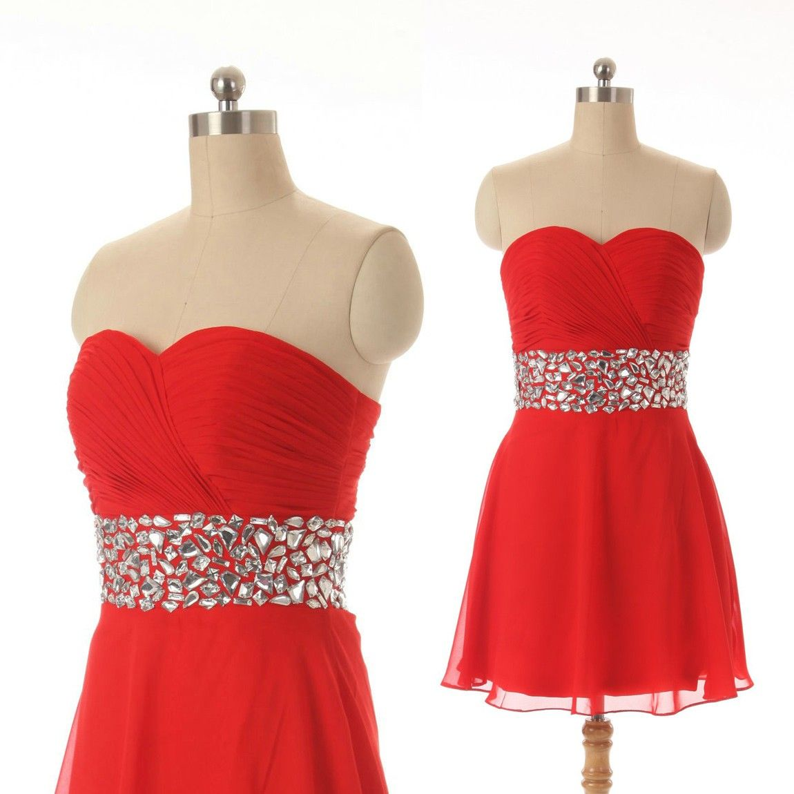 Hot sale sweetheart beaded short red homecoming dresses under