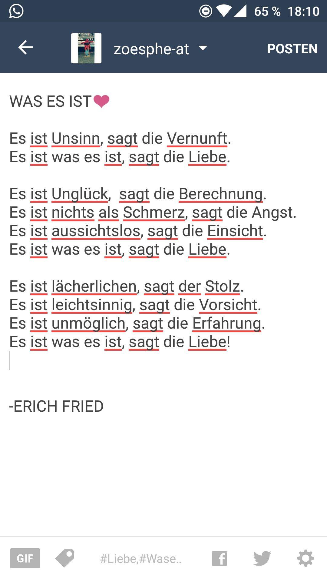 """""""Was es ist"""" ❤️ - german Quote"""
