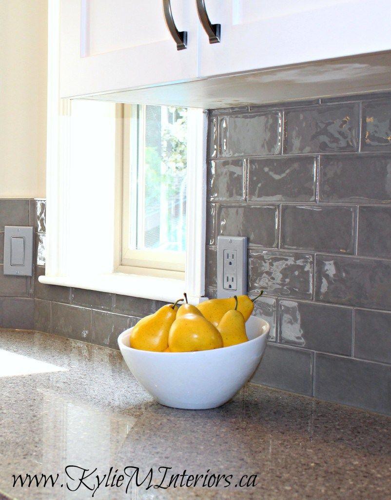 Kitchen Backsplash Update white kitchen update with gray subway tile backsplash and gray