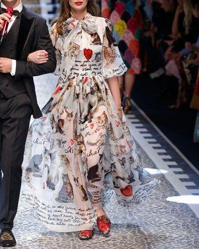 dbebda25df8 B3WG1 Dolce   Gabbana Cat-Print Tie-Neck Chiffon Gown