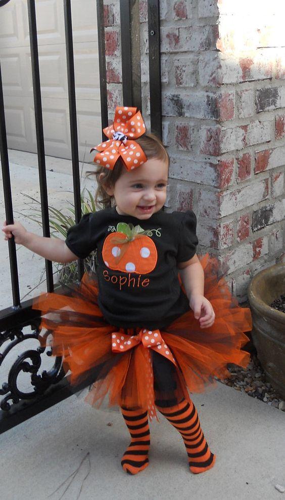 NEW baby girls 2 PC PUMPKIN OUTFIT halloween costume TUTU LEGGINGS 6-9 MONTHS
