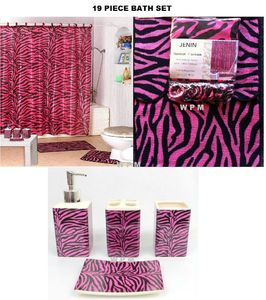 Complete Bathroom Sets Shower Curtain Bath Accessory Set Pink Zebra Printed Rugs
