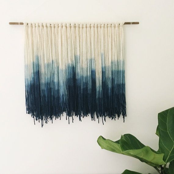 Indigo Dip Dyed Wall Hanging Spaces And Gems Yarn Wall