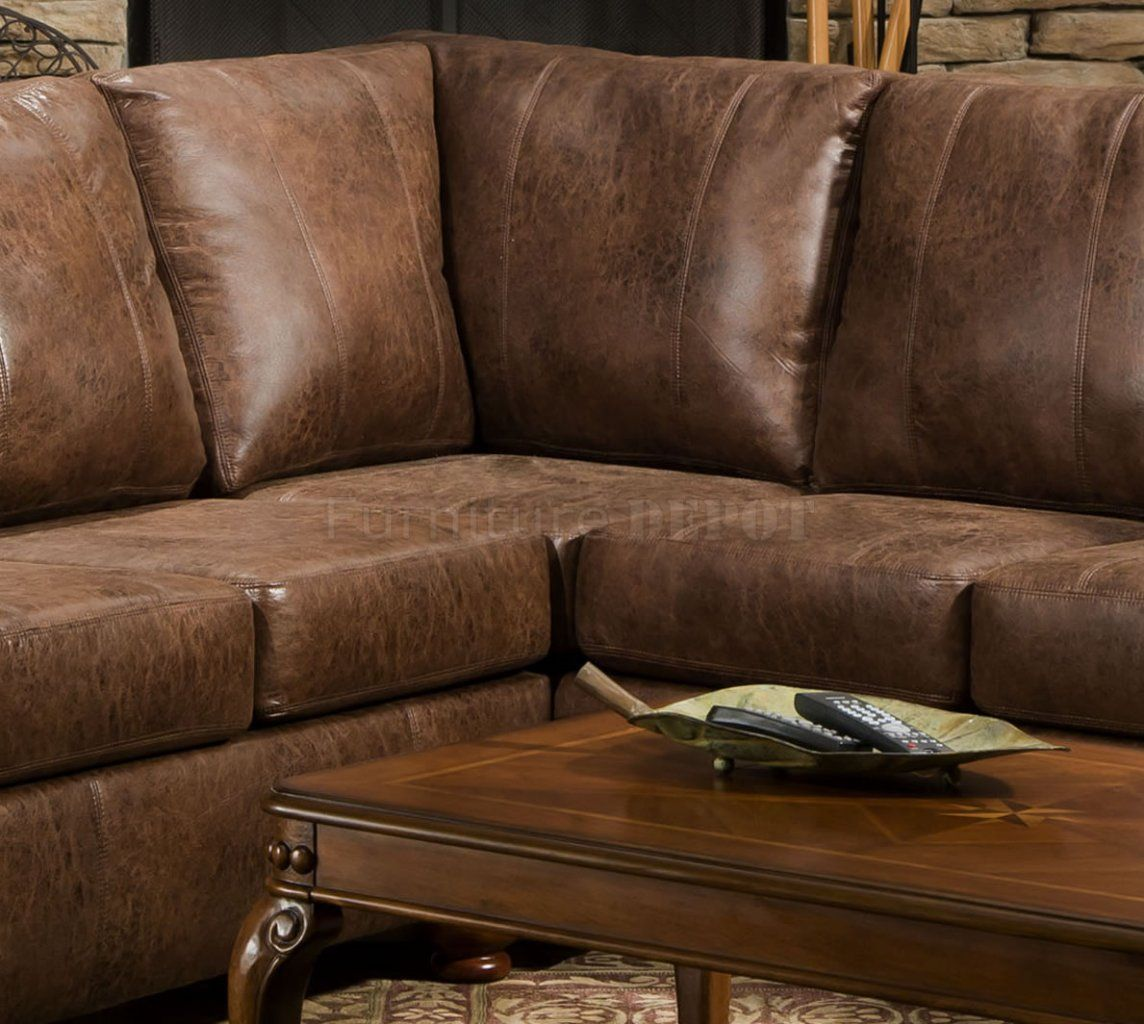 Classic Brown Sectional | Brown Smokey Leather Like Microfiber Classic  Sectional Sofa