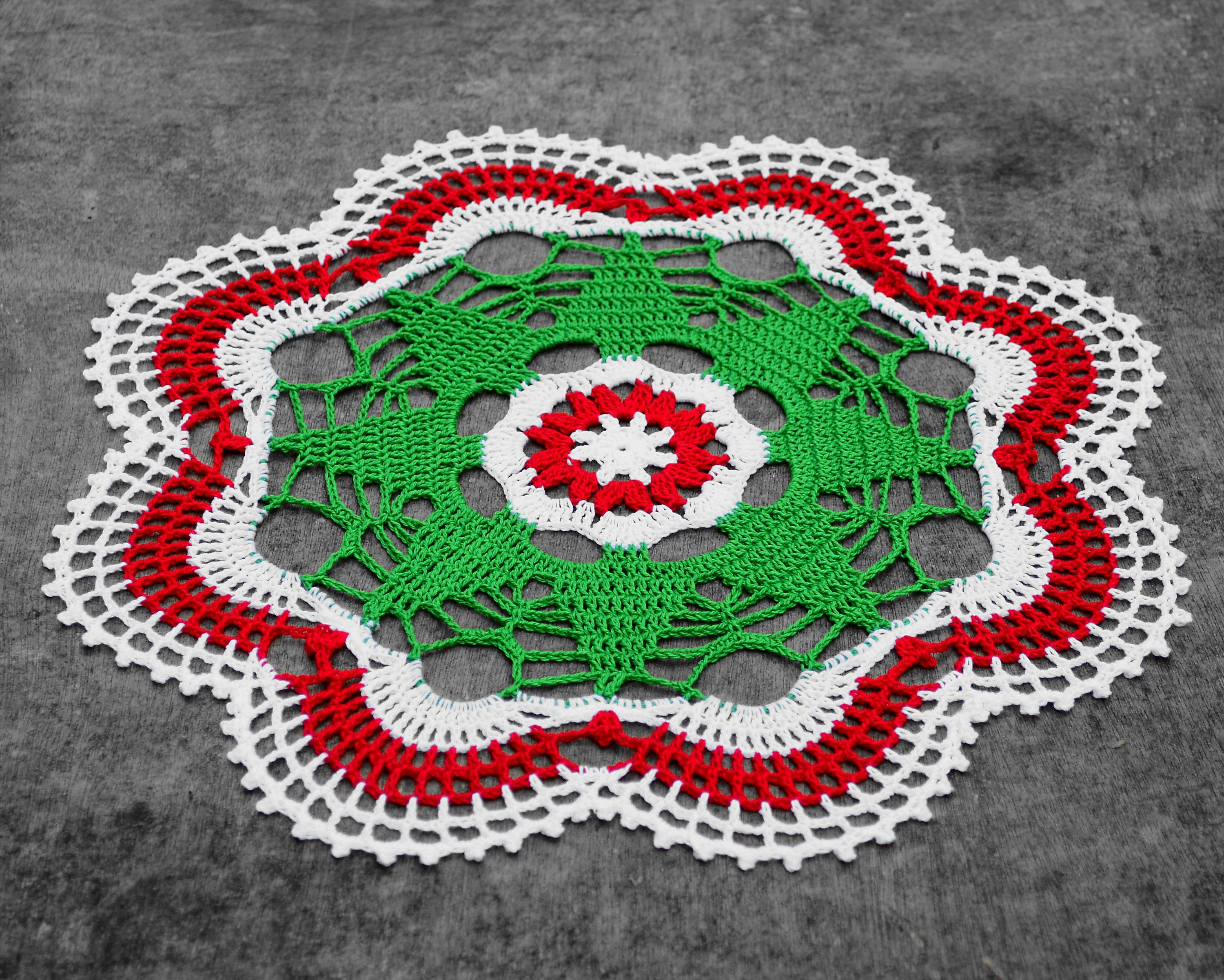 Christmas Tree Doily Christmas Doily Holiday Doily Red Etsy In 2020 Christmas Crochet Crochet Christmas Trees Crochet Table Topper