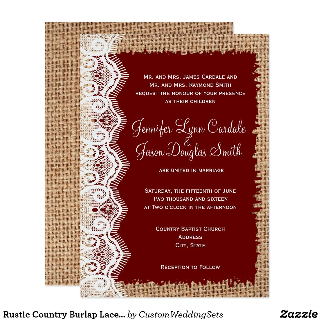 Rustic Country Burlap Lace Red Wedding Invitations | Red wedding ...
